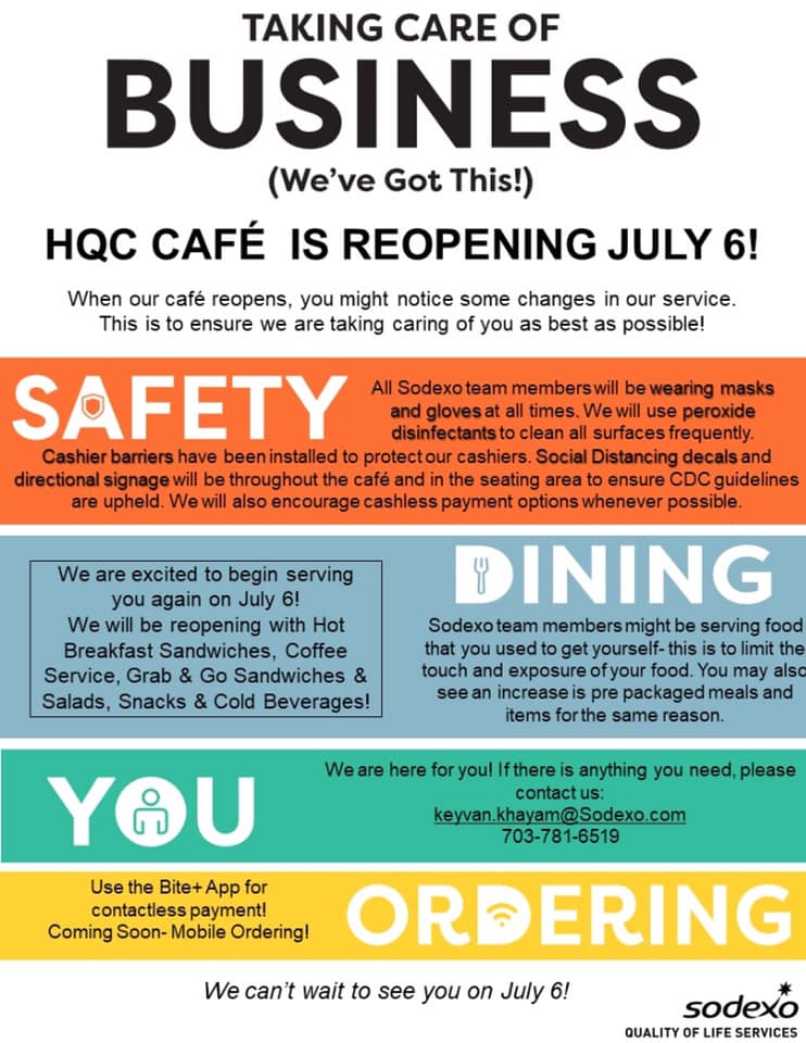 HQC Cafe Reopening Guidelines and Menu