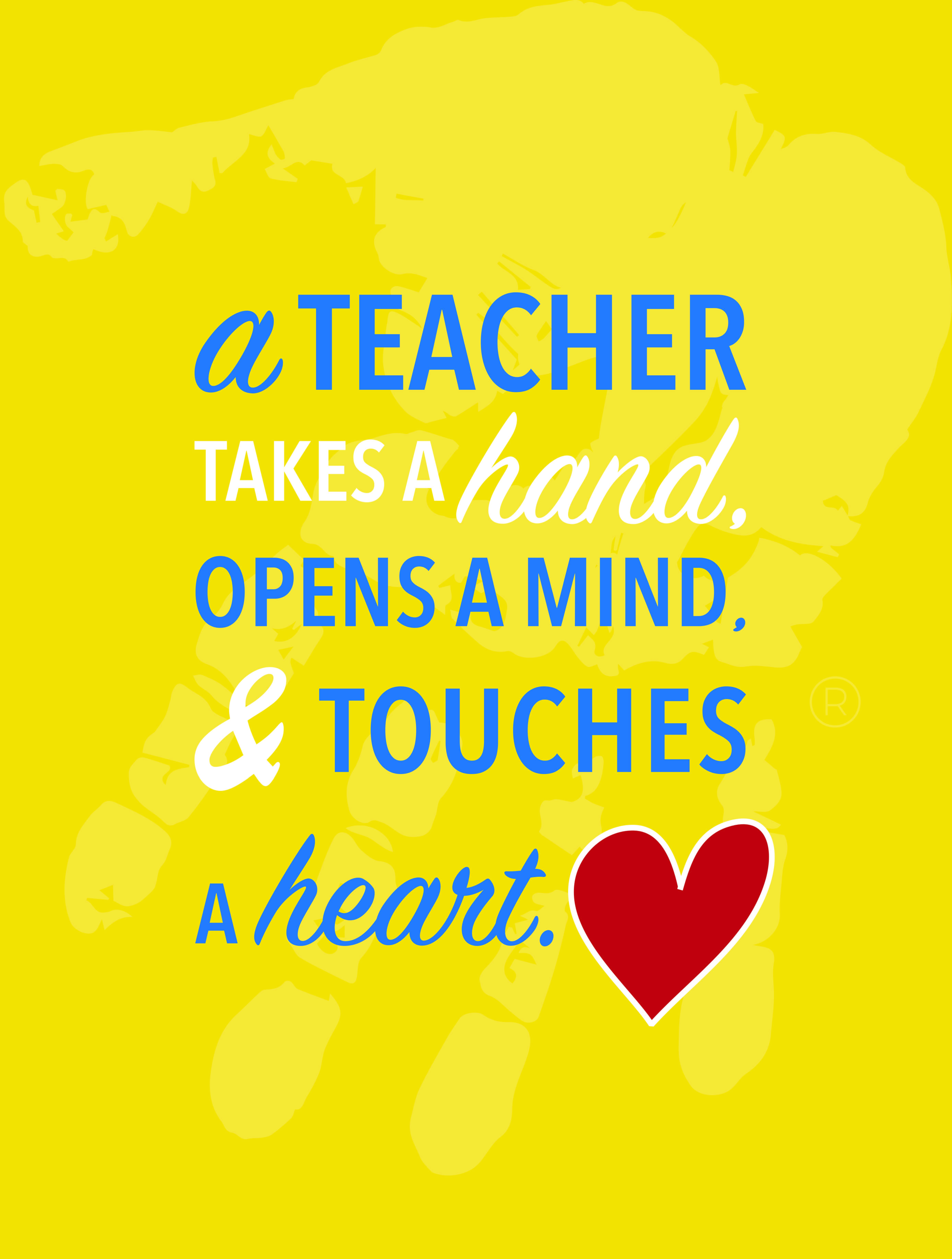 teacher touches a heart quote
