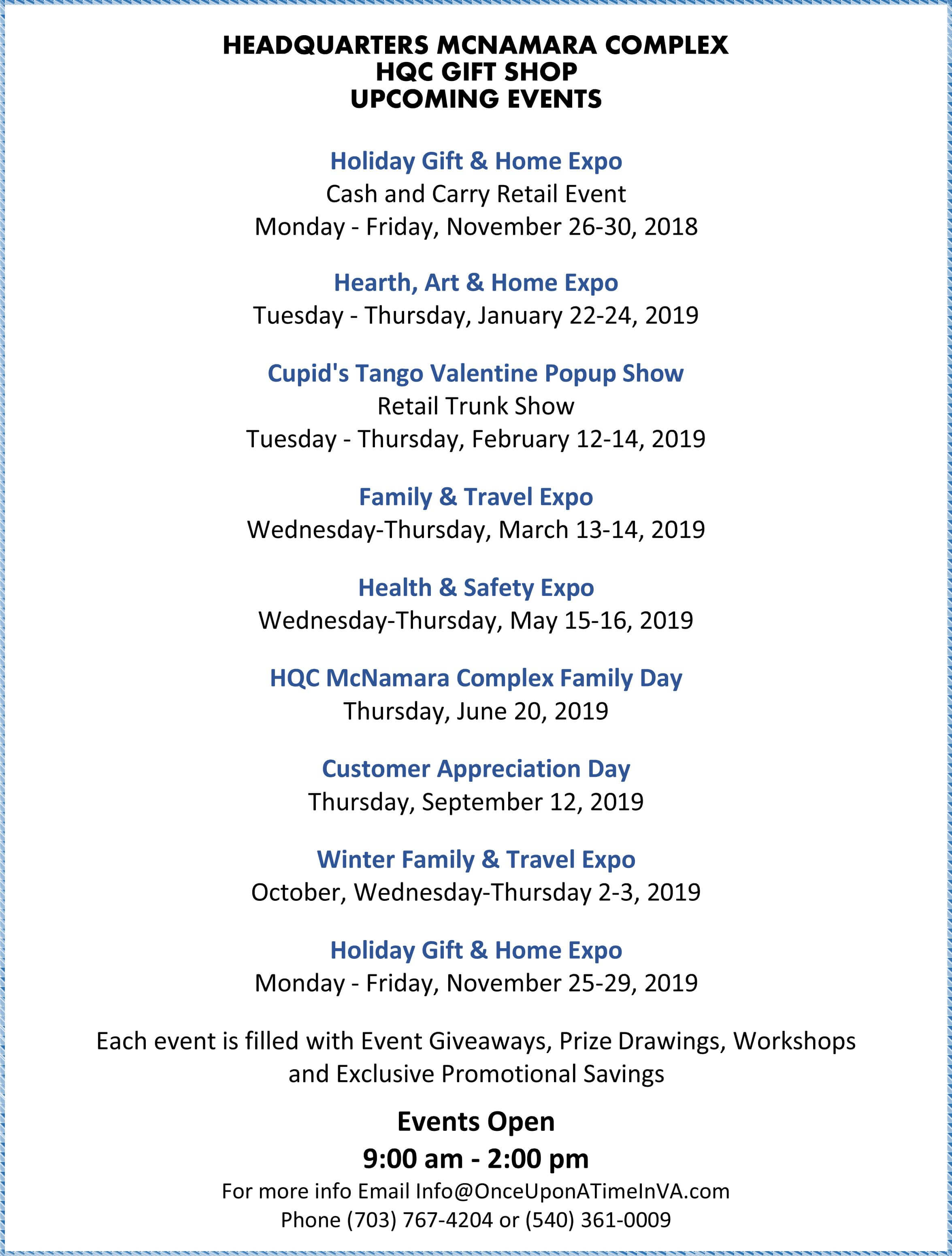 Image of the HQC Gift Shop's Annual Events Calendar-- click to open as PDF